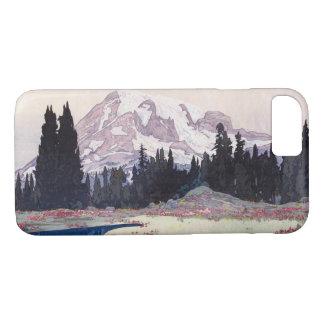 Capa iPhone 8/ 7 レーニア山, o Monte Rainier, Hiroshi Yoshida, Woodcut