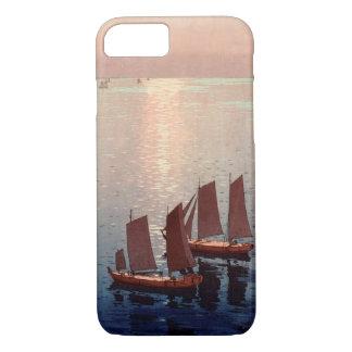 Capa iPhone 8/ 7 光る海, mar de brilho, Hiroshi Yoshida, Woodcut