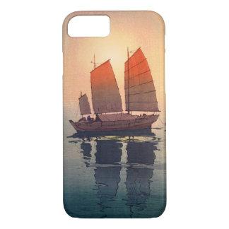 Capa iPhone 8/ 7 帆船朝, barcos de navigação manhã, Hiroshi Yoshida