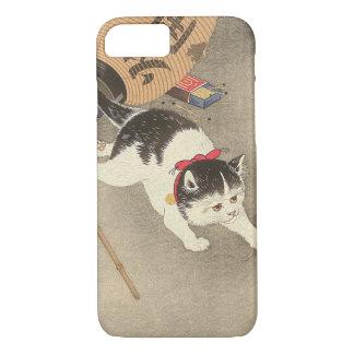 Capa iPhone 8/ 7 猫, rato de travamento do gato do 古邨, Ohara Koson,
