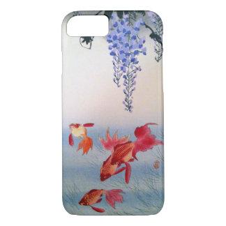 Capa iPhone 8/ 7 金魚と藤, peixe dourado do 小原古邨 e glicínias, Ohara