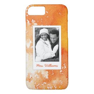Capa iPhone 8/ 7 A aguarela alaranjada pintada abstrato   adiciona