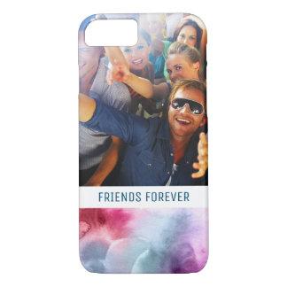 Capa iPhone 8/ 7 A aguarela azul & cor-de-rosa abstrata   adiciona