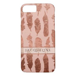 Capa iPhone 8/ 7 A aguarela cor-de-rosa do falso da folha de ouro