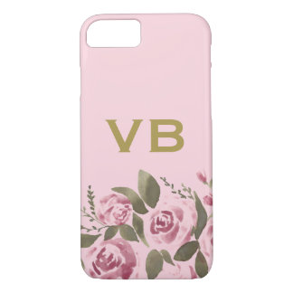 Capa iPhone 8/ 7 A aguarela cor-de-rosa do ouro floral aumentou