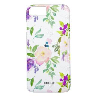 Capa iPhone 8/ 7 A aguarela delicado floresce peônias e Wisterias
