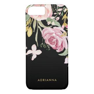 Capa iPhone 8/ 7 A aguarela floresce rosa e ouro de   florais no