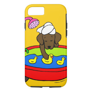 Capa iPhone 8/ 7 A borracha personalizada de Labrador do chocolate