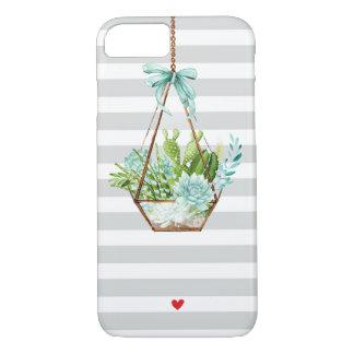 Capa iPhone 8/ 7 A cinza branca das hortaliças do Succulent listra