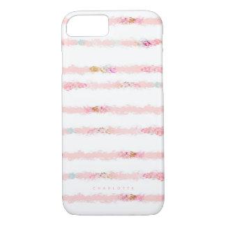Capa iPhone 8/ 7 A escova cor-de-rosa da aguarela afaga as listras