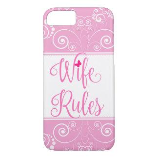 Capa iPhone 8/ 7 A esposa floral cor-de-rosa do teste padrão ordena