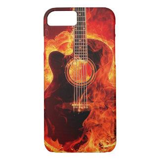 Capa iPhone 8/ 7 A guitarra ardente arde o preto alaranjado da