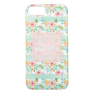 Capa iPhone 8/ 7 A hortelã listra o chique floral