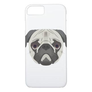 Capa iPhone 8/ 7 A ilustração persegue o Pug da cara