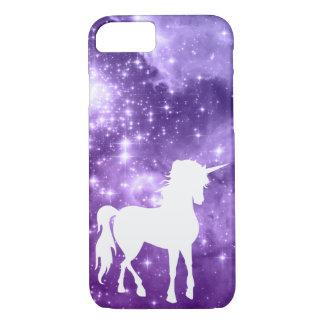 Capa iPhone 8/ 7 A mágica roxa cósmica Stars o unicórnio branco