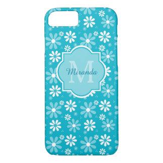 Capa iPhone 8/ 7 A margarida bonita de turquesa floresce o