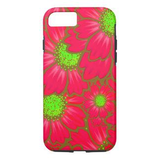 Capa iPhone 8/ 7 A margarida vermelha brilhante do verde limão