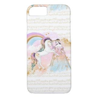 Capa iPhone 8/ 7 A música da princesa Arco-íris do unicórnio stars