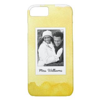 Capa iPhone 8/ 7 A pintura amarela   da aguarela adiciona a foto