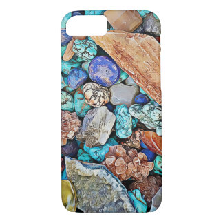 Capa iPhone 8/ 7 A praia apedreja a caixa do telemóvel de turquesa