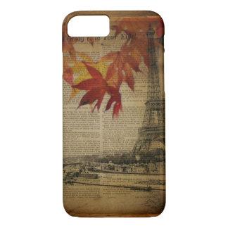 Capa iPhone 8/ 7 a queda deixa a torre Eiffel de Paris do outono do