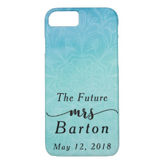 """Capa iPhone 8/ 7 """"A Sra. futura"""" cerceta da tipografia & aguarela"""