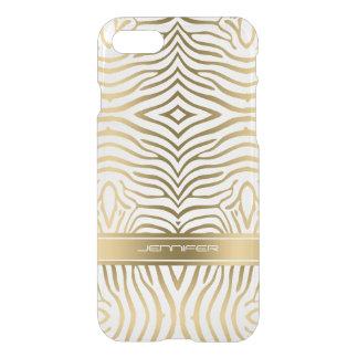 Capa iPhone 8/7 A zebra moderna do ouro listra o fundo branco