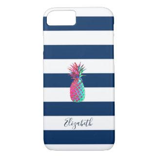 Capa iPhone 8/ 7 Abacaxi adorável, azul marinho