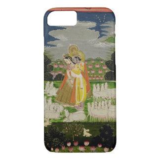 Capa iPhone 8/ 7 Abraço de Radha e de Krishna em um landscap