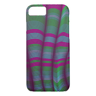 Capa iPhone 8/ 7 abstrato-verde ondulado e cor-de-rosa corajosos