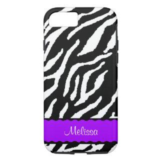 Capa iPhone 8/ 7 Acento roxo com o tigre branco e preto