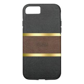 Capa iPhone 8/ 7 Acentos de couro marrons & pretos elegantes do