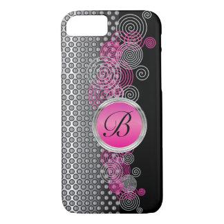 Capa iPhone 8/ 7 Aço da malha com prata circular e rosa no preto