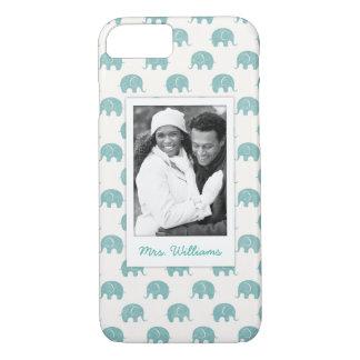 Capa iPhone 8/ 7 Adicione seu teste padrão bonito do elefante da
