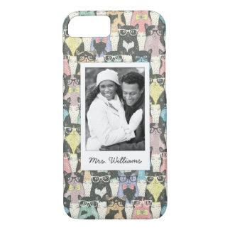Capa iPhone 8/ 7 Adicione seu teste padrão bonito dos gatos do