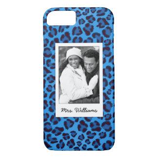 Capa iPhone 8/ 7 Adicione sua textura azul do leopardo da foto  