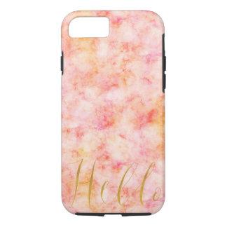 Capa iPhone 8/ 7 Aguarela cor-de-rosa bonito do ouro olá!