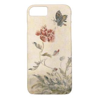 Capa iPhone 8/ 7 Aguarela da abelha, da borboleta e da papoila do