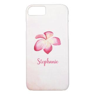 Capa iPhone 8/ 7 Aguarela do rosa do Plumeria do por do sol