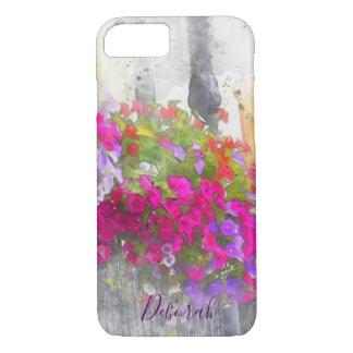Capa iPhone 8/ 7 Aguarela floral bonito chique feita sob encomenda