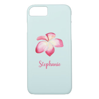 Capa iPhone 8/ 7 Aguarela tropical do rosa do Plumeria