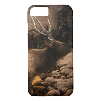 Capa iPhone 8/ 7 Alces rústicos da montanha da floresta da casa de