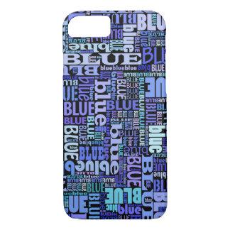 Capa iPhone 8/ 7 Amantes azuis, teste padrão azul no preto,