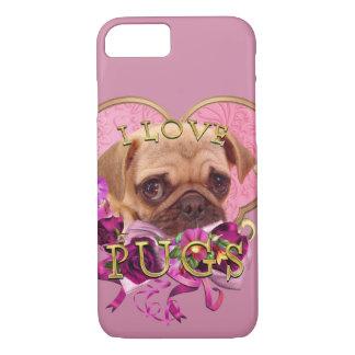Capa iPhone 8/ 7 Amor do Pug na galáxia cor-de-rosa S8 de Samsung