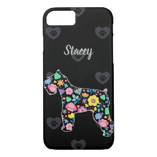 Capa iPhone 8/ 7 Amor personalizado meu design floral do Schnauzer