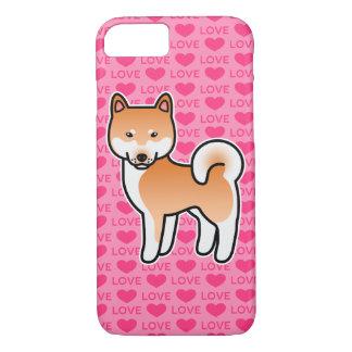 Capa iPhone 8/ 7 Amor vermelho de Shiba Inu dos desenhos animados