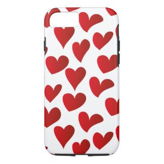 Capa iPhone 8/ 7 Amor vermelho pintado teste padrão do coração da