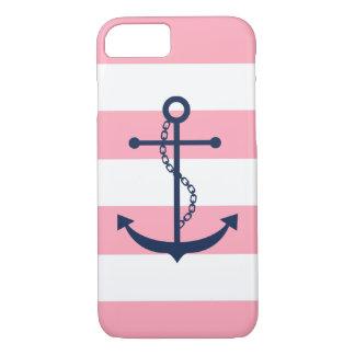 Capa iPhone 8/ 7 Âncora azul em listras cor-de-rosa