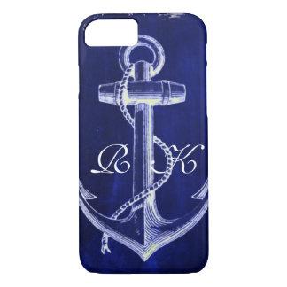 Capa iPhone 8/ 7 âncora náutica chique litoral dos azuis marinhos