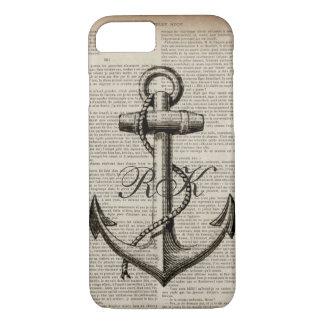 Capa iPhone 8/ 7 âncora náutica do vintage do marinheiro da praia